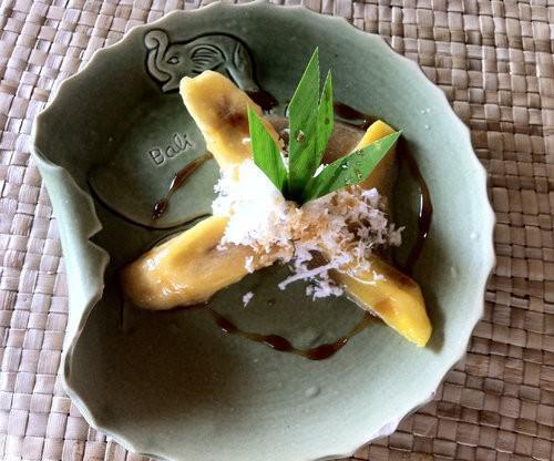 Boiled Banana and coconut bali dessert