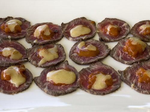 Carpaccio Wagyu with smoky tomato and aoili