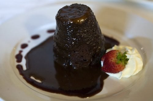 Chocolate Cherry Pudding with ganache sauce