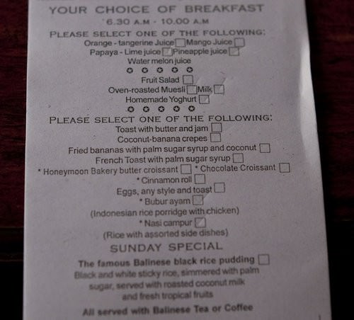 Honeymoon Guest House Breakfast, Bali accommodation, breakfast selection