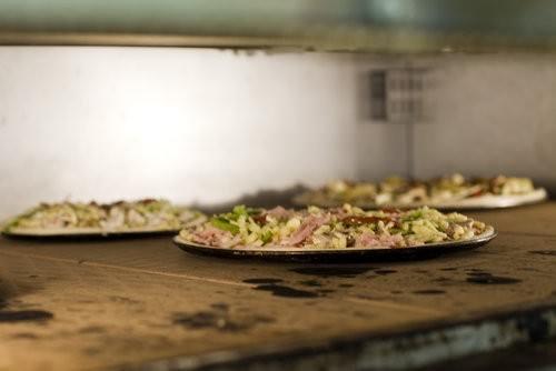 Inside pizza oven