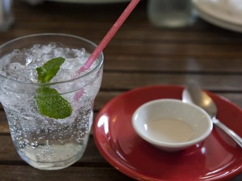 Lemon Myrtle Mineral Water, the rustic table