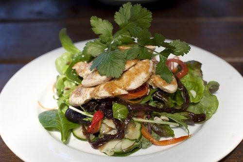 Lorne Macadamia Nut Farm, seared chicken salad