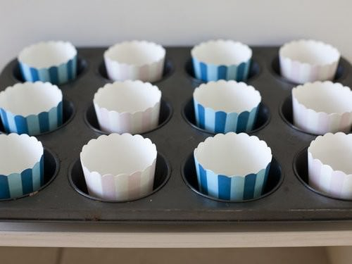 Nutella & Banana Cupcakes, striped wrappers