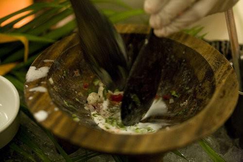 Preparing Kokoda Fijian recipe