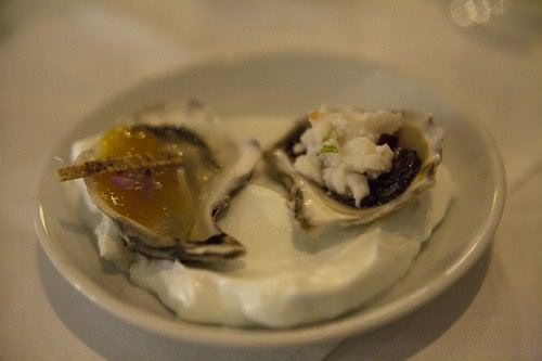 Saltwater Emerald Beach, signature dish, oysters, pork belly and duck