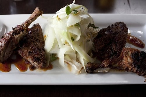 Szechuan Crusted Half Duck w papaya salad