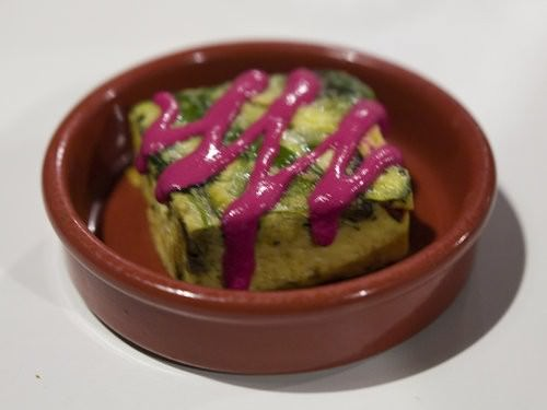 Vegetable frittata and beetroot Labneh