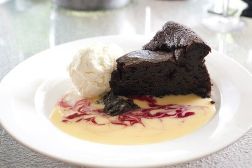 Warmed Flourless chocolate Fudge cake, little fish cafe