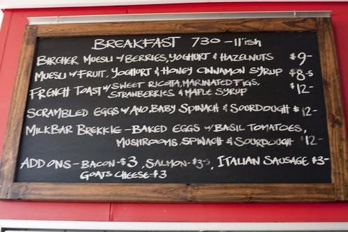 black board menu, milkbar port macquarie