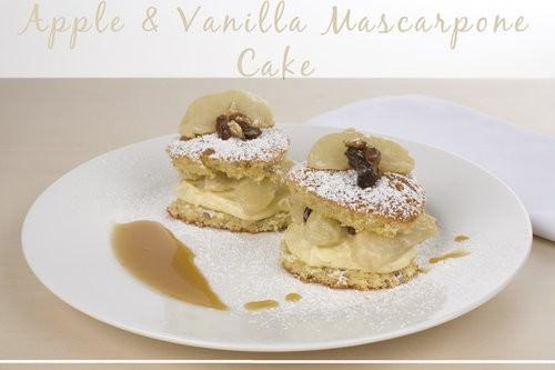 Apple, Vanilla Mascarpone Cake with Caramel Sauce
