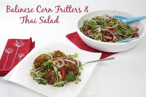 Balinese Corn Fritters & salad