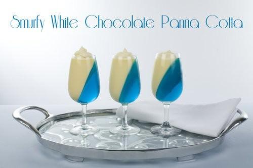 Blue dessert food, white chocolate panna cotta dessert