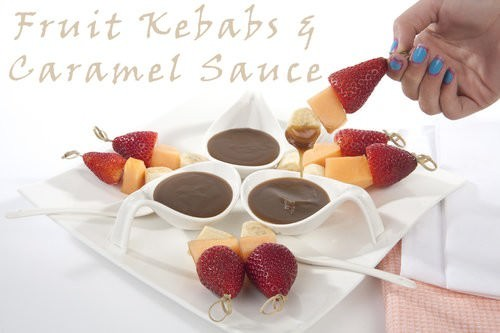 Fruit Kebabs w caramel sauce