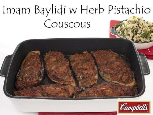 Imam Baylidi w Herb Pistachio Couscous