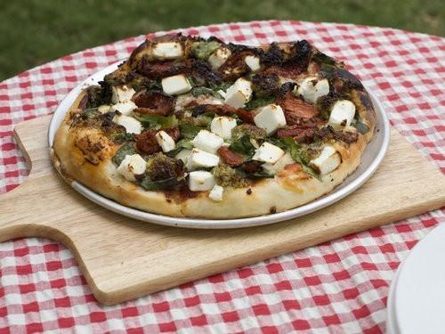 Pesto Spinach Feta and Sun-dried Tomato Gourmet Pizza