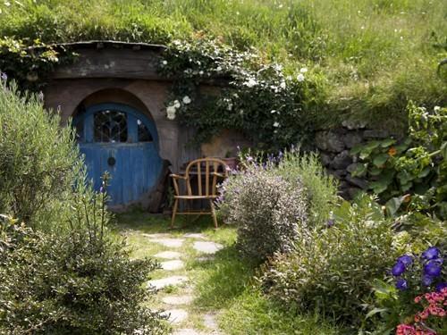 final Hobbit home with a blue door