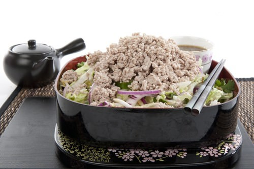Healthy Bento Lunchbox of Asian Salad w Pork
