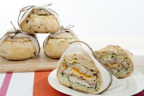 Chicken Caesar Muffuletta Roll