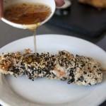 Sesame crusted swordfish and prawn skewers