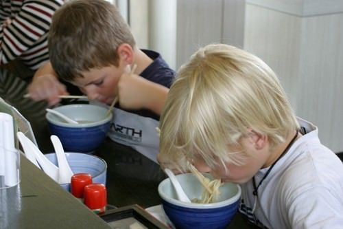 Boys Eating Noodles