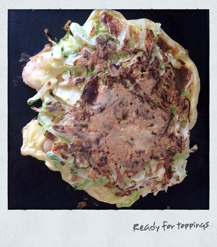 Okonomiyaki Cooking on sandwich press
