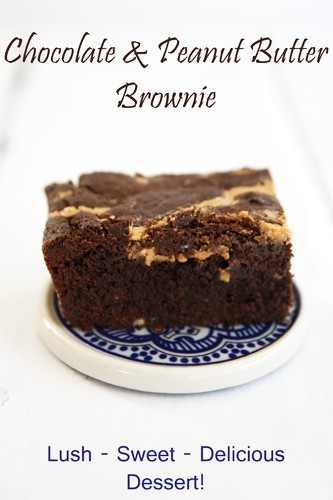 Chocolate & Peanut Butter Brownie Recipe Pin