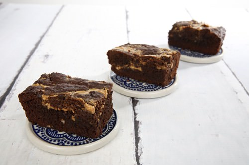 Chocolate Peanut Butter Brownies in a row