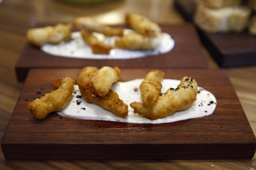 Parlour Wine Room Cider Battered Anchovy w Aioli