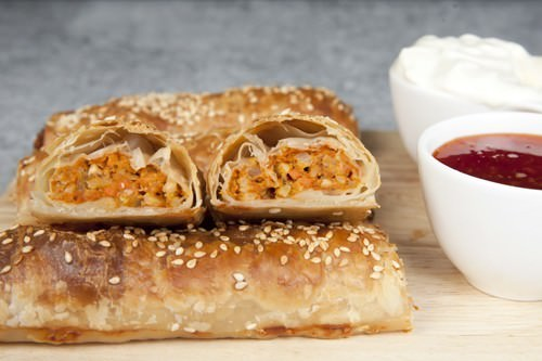 Butter Chicken Sausage Rolls Inside