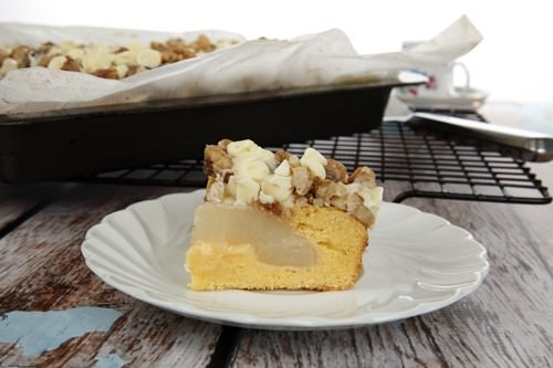 Pear Crumble Sheet Cake Slice