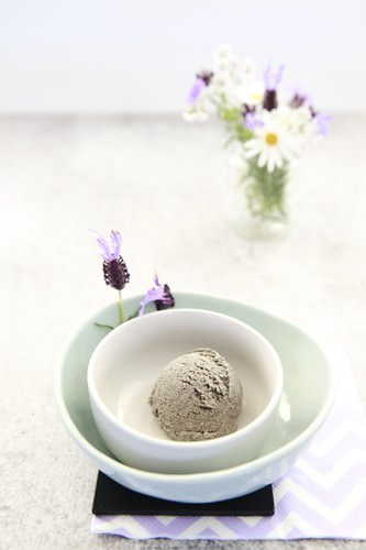 Black Sesame Ice cream in a Bowl