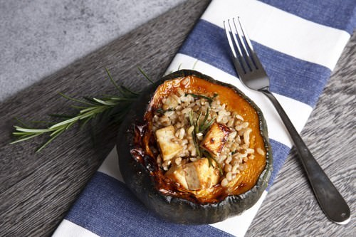 Pumpkin Stuffed w Rice & Lentils