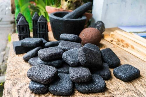 Items made from volcanic ash and stones