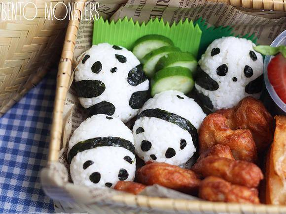 Panda Rice Balls with leftover Chicken