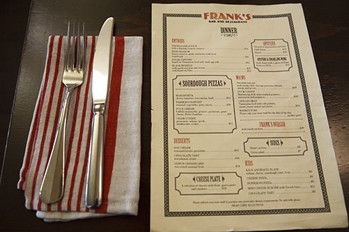 Franks Bar & Restaurant Menu