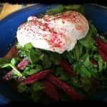 Smoked Salmon & Raw Beetroot Salad w Poached Egg