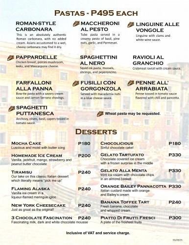 Palermo Restaurant Menu - Pastas and Desserts