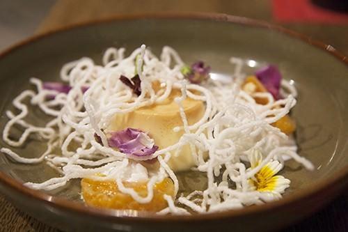 Creme Caramel Poached Mandarine & Rice Noodle Salad