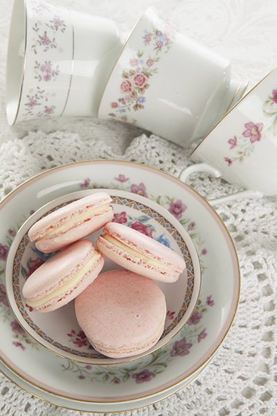 Pink Macaron on Floral Plates