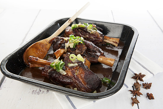 Oven Roasted Lamb Shanks in Maple Syrup
