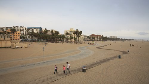 A leisurely walk along Santa Monica beach