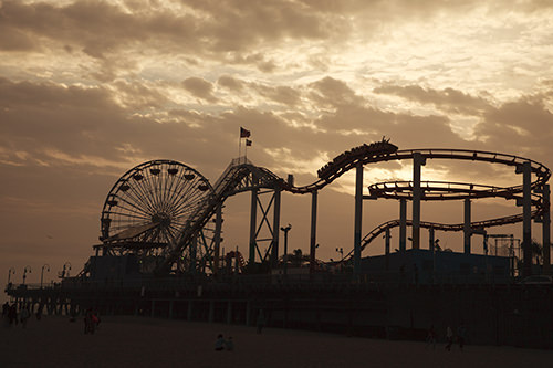Santa Monica Pier Roller Coaster and Ferris Wheel silhouette