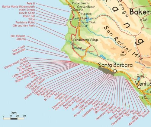 Santa Barbara Surf Beaches MapSanta Barbara Surf Beaches Map