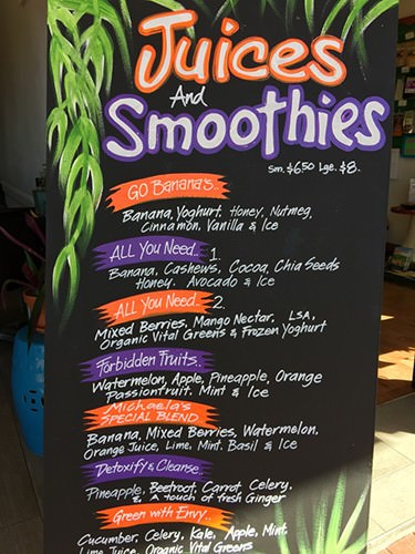 Eden on Harbour Smoothie Menu
