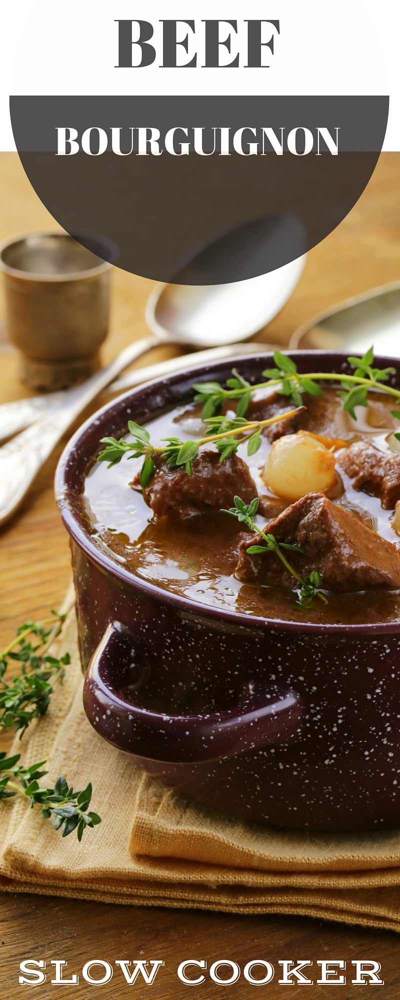 Slow Cooked Beef Bourguignon - Pin Winter Warming Recipe