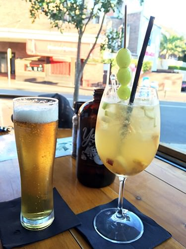 White Sangria and Italian Lager at Salt Meats Cheese Mosman