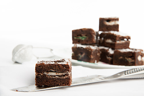 Choc Mint Brownie Squares