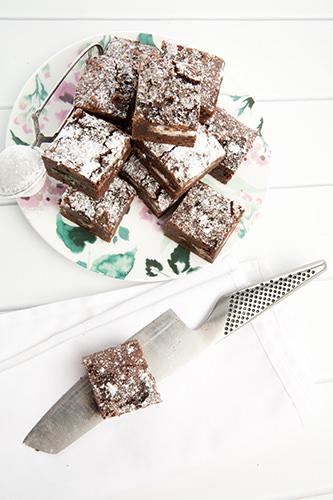 Choc Minty Brownie Squares