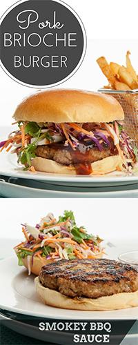 Pork Brioche Burger w Smoky BBQ sauce